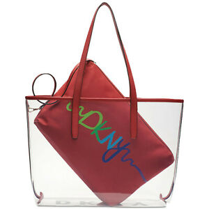 DKNY-Brayden-Transparent-Tote-NEW-OSFA-BRIGHT-RED