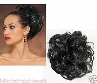 Pony Tail Hair Extension Piece Bun Hairpiece Wrap Scrunchie Black