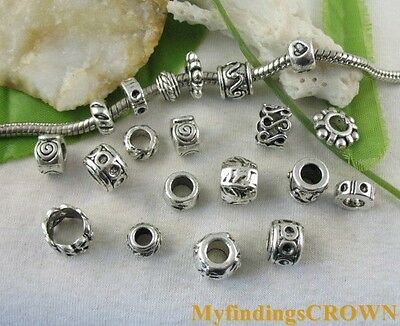 40pcs Tibetan Silver Smooth Barrel Charm Beads Fit Bracelet ZY173