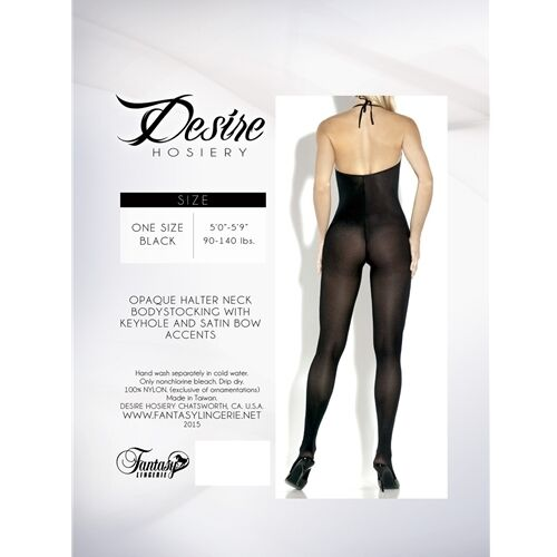 DESIRE OPAQUE HALTER NECK BODYSTOCKING WITH KEYHOLE /& SATIN BOW ACCENTS