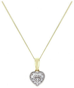 9ct Diamante acento de Oro Corazón Colgante 0.06ct PVP £ 149.99