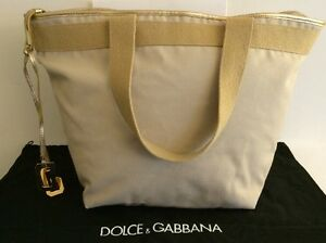 Authentic-Dolce-amp-Gabbana-Tote-Beige-Brown-Gold-tone-Hardware-Diaper-Bag-Travel