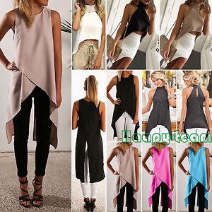 Womens-Irregular-Vest-T-shirt-Summer-Casual-Sleeveless-Tank-Tops-Long-Blouse-HOT