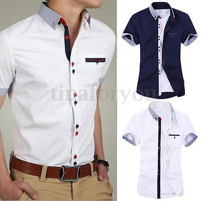 Stylish Men Slim Fit Short Sleeve Casual Formal Dress Business Suits T Shirt Top