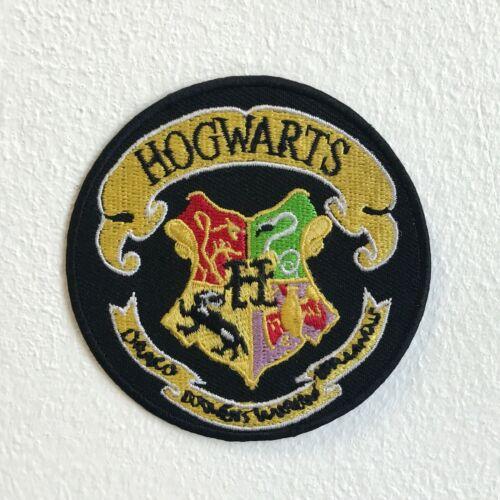 Harry Potter Hogwarts Amarillo en Negro de Hierro Redondo Coser Parche Bordado