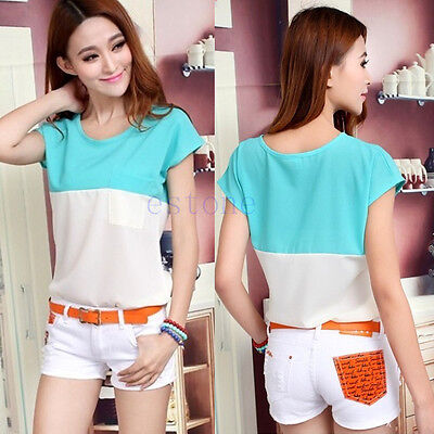 Womens Casual Sheer Batwing Blouse Chiffon Short Sleeve Loose Tops T-Shirt Tee
