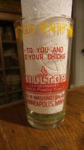 POULTRY HEALTH AIDS Minneapolis Vintage Advertising Glass HILLTOP LABS MN