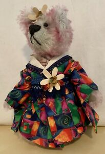 Cindy-McGuire-Artist-Mohair-Bear-Signed-Pink-w-Colorful-Kimono-Vtg-2000