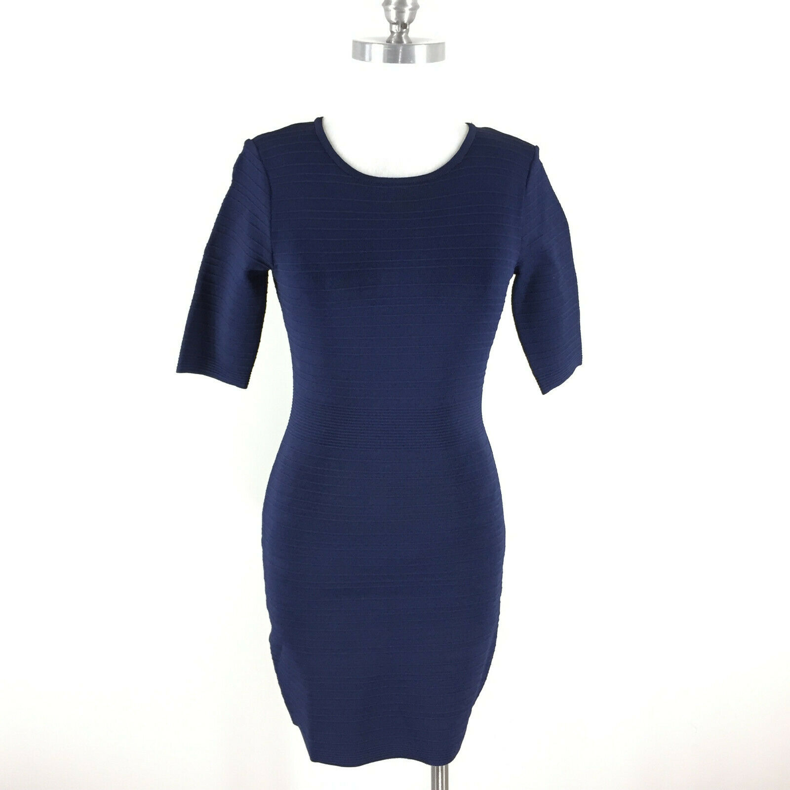 Cache S Navy Blau Ribbed Dress Bodycon Cocktail Formal Stretch Short sleeve
