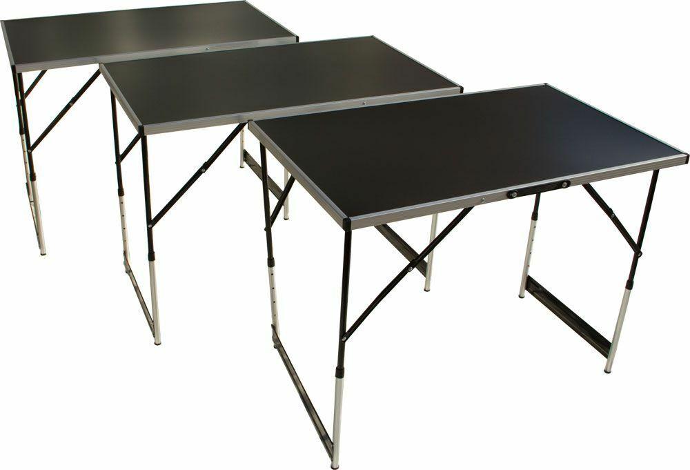 Tapeziertisch Arbeitstisch 3-teilig höhenverstellbar Flohmarkttisch Campingtisch
