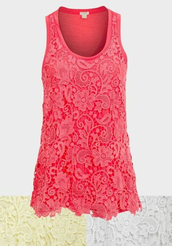 J Shirt Top XXS-M Crew Ladies Knitted Lace Sleeveless Vest T