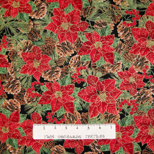 Timeless Treasures YARD Christmas Fabric Poinsettia /& Pine Cone Packed Black
