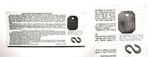 TWO  DOG TAGS 1984 San Francisco CA Unissued Dog Licenses on Card PPD-USA!