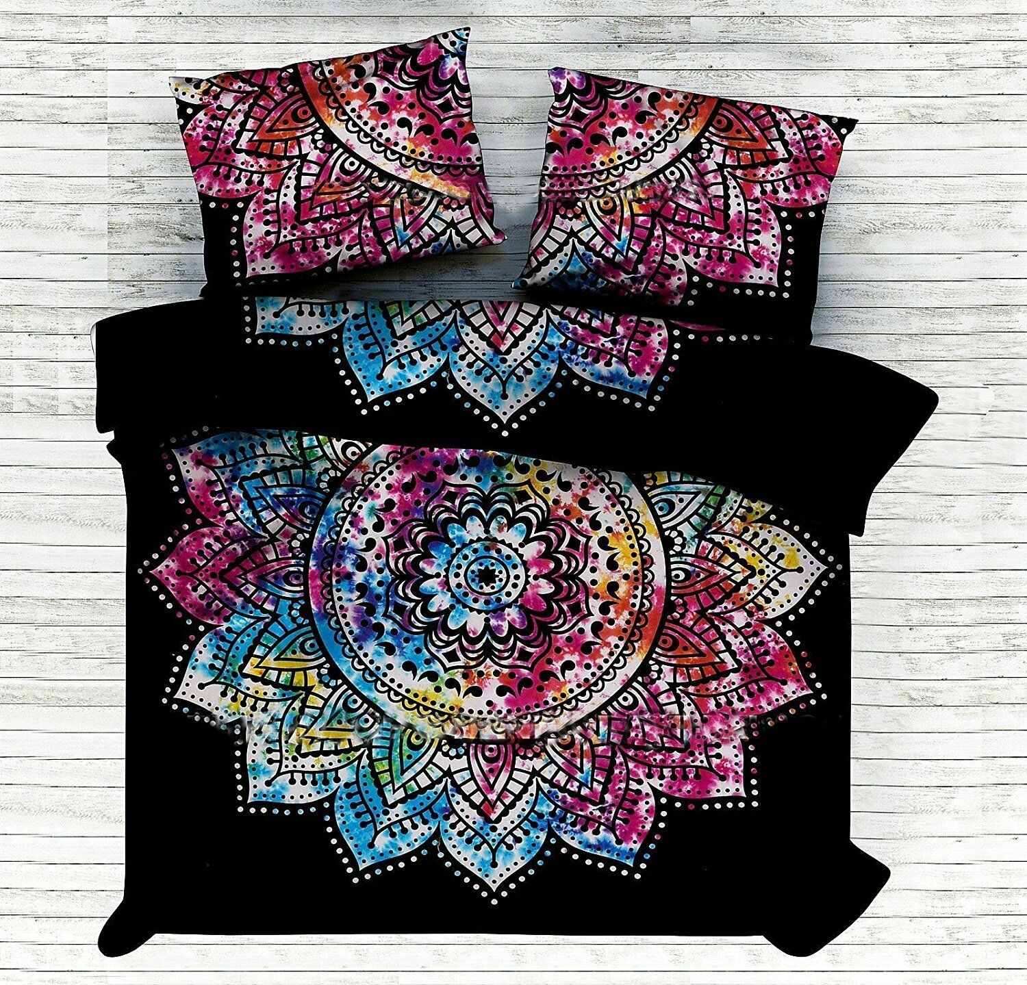 Multicolor Mandala Cotton Throw Duvet Cover Bohemian DoonaCover Boho Quilt Cover