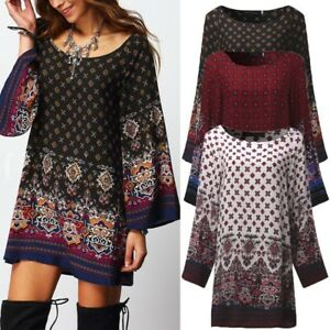 UK-Women-Floral-Printed-Long-Sleeve-Tunic-Tops-Casual-Loose-Mini-Dress-Plus-Size