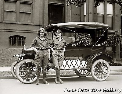 Two Babes and Their Ride - 1922 - Historic Photo Print
