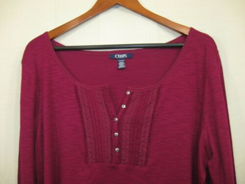 """NWT Chaps by RL Women/'s /"""" River Path /"""" Maroon Long Sleeve Button Neck Top"""