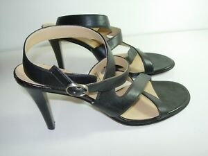 WOMENS-BLACK-LEATHER-ANKLE-STRAP-ANNE-KLEIN-SANDALS-HIGH-HEELS-SHOES-SIZE-6-5-M