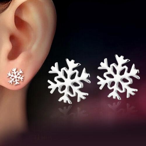Snowflake 925 Sterling Silver Snow Flower Women Ear Stud Earrings Jewelry Gifts