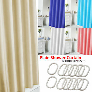 Image Is Loading PLAIN SHOWER BATHROOM CURTAIN 12 HOOK RING SET
