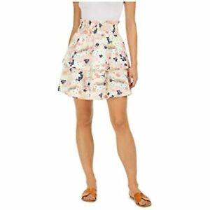 Maison Jules Women's Floral-Print Tiered Mini Skirt, Ivory, Size S, $60, NwT