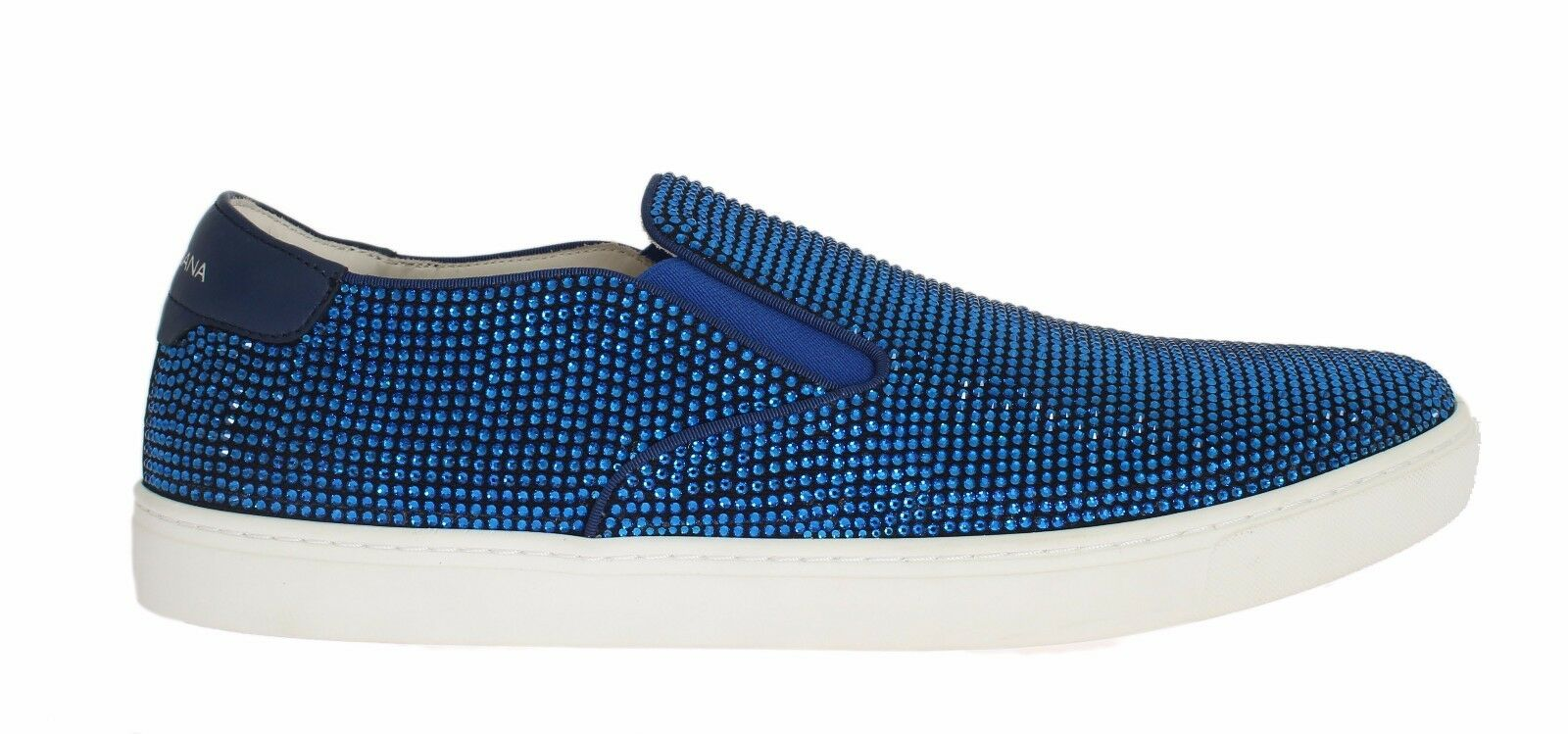 NEW $2300 DOLCE & GABBANA Shoes Blue Strass Canvas Logo Sneakers s. EU44 / US11
