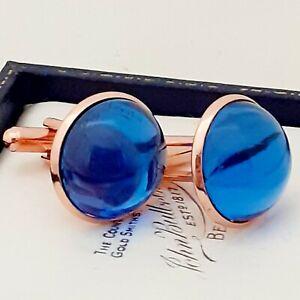 Vintage-1950s-Royal-Blue-Glass-Large-Round-Rose-Goldtone-Cufflinks