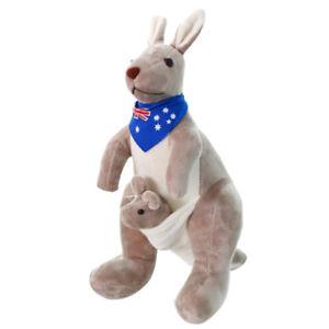 Suess-Kaenguru-Angefuellt-Tier-Weich-Pluesch-Puppe-Spielwaren-fuer-Baby-Kid-H3U5