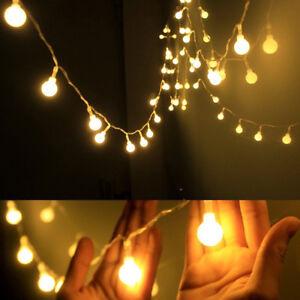 5M 50LED Bulb Ball String Fairy Lights Wedding Xmas Party Decor Indoor//Outdoor