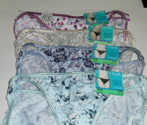 4 Vanity Fair Bikini Panty Set Illumination 18108 8 XL Blue Pink Assort Flowers