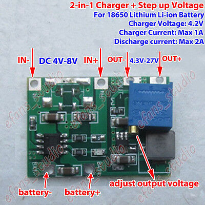 Lithium Li-ion 18650 3.7V 4.2V Battery Charger Board DC-DC Step up Boost Module
