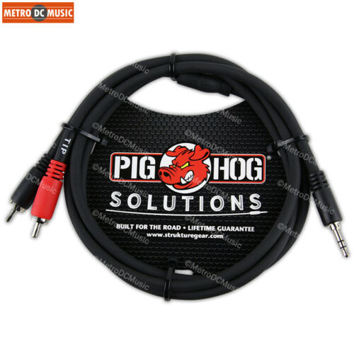 """Pig Hog 3ft 3.5mm Male to Dual RCA Male Stereo Breakout Cable TRS Mini 1//8/"""""""