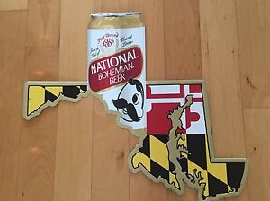 NATIONAL-BOHEMIAN-NATTY-BOH-28-X-24-Original-TIN-SIGN-Iconic-Mr-Boh-amp-MD-Map