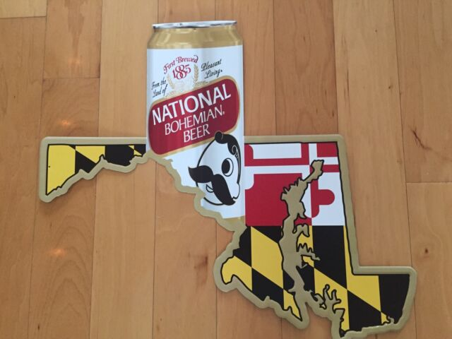 "NATIONAL BOHEMIAN NATTY BOH 28"" X 24"" Original TIN SIGN Iconic Mr Boh & MD Map"