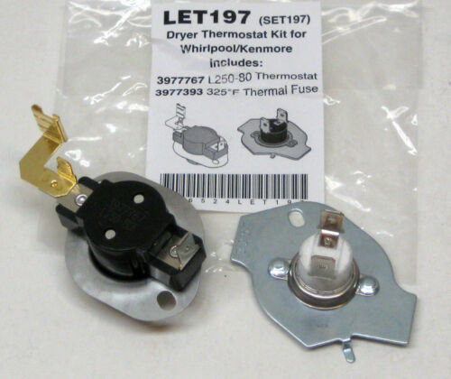 N197 279816 Dryer Limit /& Thermal Thermostat Kit for Whirlpool Kenmore