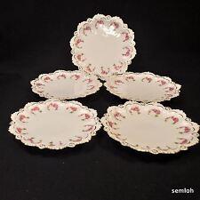 Austria MZ Moritz Zdekauer Set of 5 Dessert Plates Pink Roses w/Gold 1884-1909