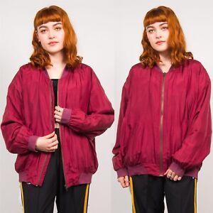 Ravissement Bomber Jacket Pour Femme Rouge Foncé Années 80 Vintage Silk Oversize Casual Zippées 14 16-afficher Le Titre D'origine Effet éVident