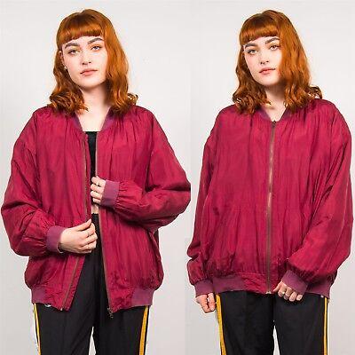 Bomber Da Donna Rosso Scuro Anni'80 Vintage Silk Oversize Casual Chiusura A Zip 14 16-mostra Il Titolo Originale