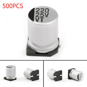 500x-25V-220uF-8-10-5mm-20-SMD-Condensatori-elettrolitici-Chip-E-Cap-IT