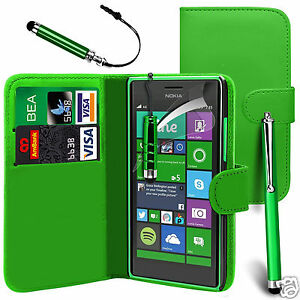 Green-PU-Leather-Wallet-Flip-Case-Cover-Screen-Film-amp-3-Pens-For-Various-Phones