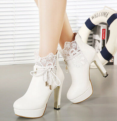 New Womens Lace-Up High Heel Ankle Boots Platform Sexy Chunky Wedding Shoes Sz