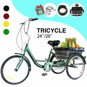 "24/""//20/"" Adult Tricycle 3-Wheel Trike Cruiser Bicycle w//Basket for Shopping"