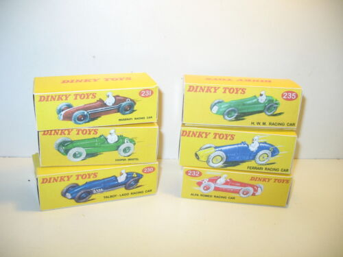 lot 6 boites vides repro DINKY 230 23C 235 racing car 232 23H 231 n75