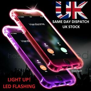 premium selection 9d2d8 1f7bd Details about LED Flashing Shockproof Clear Case Light Up Soft Cover Apple  iPhone 5 6 7 8 Plus