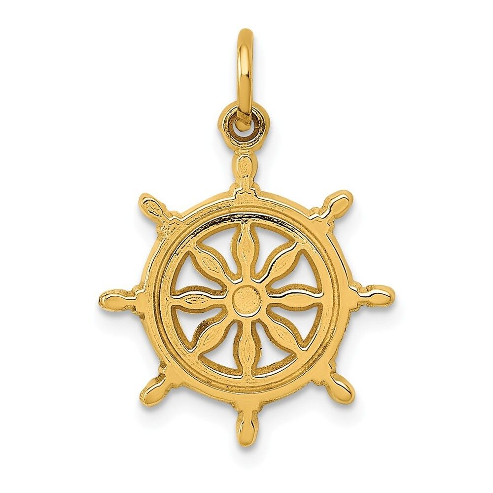 14k Yellow gold Ships Wheel Charm Pendant 0.95 Inch