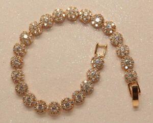 1ct-Round-Flower-Diamond-Tennis-Bracelet-in-14K-Yellow-Gold-Finish-0-5-Carat