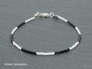 Slim-Black-amp-White-Seed-Bead-Boho-Gypsy-Stacking-Friendship-Bracelet-Gift
