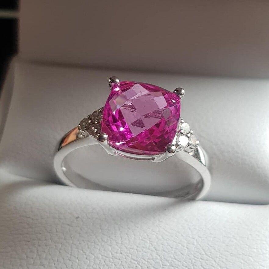 9Ct gold whiteo Zafiro pink y Natural Anillo con Diamante size M