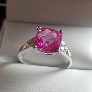 9Ct-Oro-Blanco-Zafiro-Rosa-y-Natural-Anillo-con-Diamante-TALLA-M