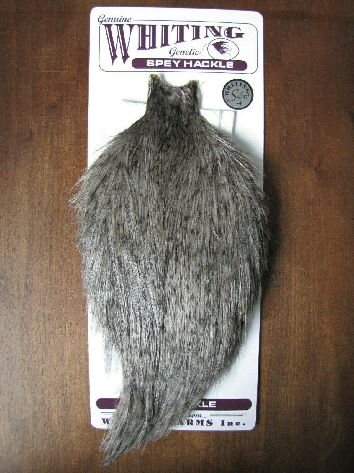 Fly tying-Whiting Plata Spey Gallo Cape Grizzly teñido Heron gris   A